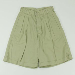 Vintage Outrage Pleated High Waisted Shorts Khaki